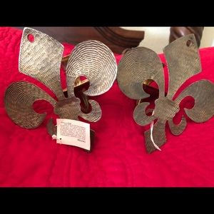 Other - 2 vintage solid brass Fleur De Lis candle holders